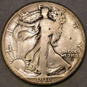 1916 D LIBERTY WALKING SILVER HALF DOLLAR APPEALN CIRCULATED SCARCE TOUGHER DATE