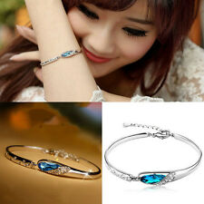 Fashion Women Silver Plated Crystal Chain Bangle Cuff Charm Bracelet Jewelry
