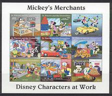 St. Vincent 1996 Disney/Merchants/Trains/Cars/Transport/Commerce 9v sht (s375)
