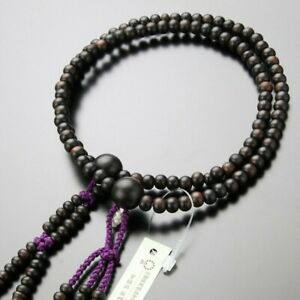 Kyoto Nichiren Buddhist Rosary Juzu 108beads Black Ebony Woman Crystal Japan