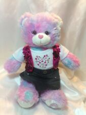 Build A Bear Workshop Multi Colored Bear With Pink Sequin Top And Skirt BAB
