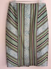 $298 J.CREW COLLECTION Silk/Wool Stripe Ikat Pencil Skirt Style C0456 Size 4