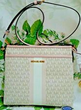 Michael Kors Bedford Small Logo Stripe Crossbody Bag Powder Blush