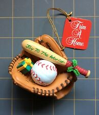 Trim A Home Baseball Mitt Bat And Glove Joy To The World Christmas Ornament Nwt