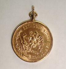 1959 Mexico Gold 20 Pesos Coin & 14K Yellow Gold Bezel Pendant, 18.15 grams