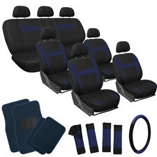 26pc Set Blue Auto Truck Seat Covers Wheel-Belt-Head + Navy Royal Blue Floor Mat