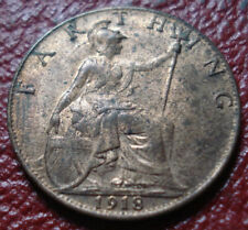 1918 BRITISH FARTHING IN AU-UNCIRCULATED CONDITION (KM# 808.2)