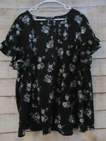 Lane Bryant Women's Size 24 Floral Pullover Top Ruffle Sleeves Black Flowers