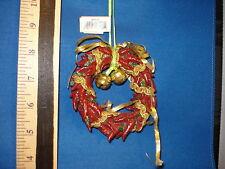 Chili Pepper Ornament Wreath with Gold Ribbon W9115 544