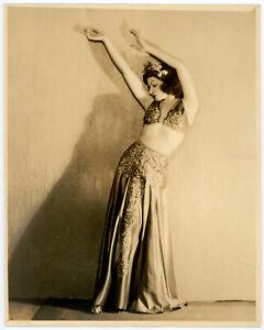 Original 1930s Spellbinding Burlesque Beauty Vaudeville Belly Dancer Photograph