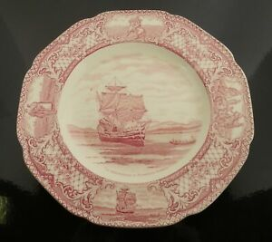 Crown Ducal Colonial Times THE MAYFLOWER Pink Scalloped Dinner Plate