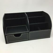 Office Desk Organizer - PU Leather Desktop Storage Organizer Box