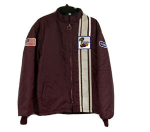 Vintage Ford Mustang Cobra Shelby Racing Jacket Sz Large Faux Fur Lined Maroon