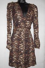 Nouveau Maje imprimé léopard, Deep V-cou robe taille 2, UK10 RRP £ 229