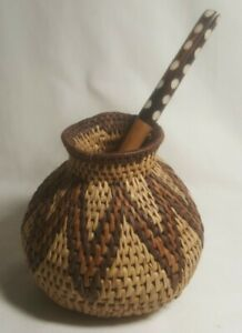 Vintage Native American Style hand Woven Basket Vase-Bowl, Tooled Wood Spoon 🥄