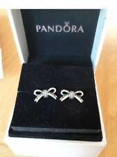 Pandora Bow Stud Earrings sterling silver Cubic Zirconia Gift Box &Bag Birthday