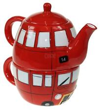 Routemaster Bus Ceramic One Teapot And For One Red Novelty Shaped London Cup Set