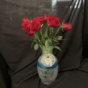 MURANO GLASS VASE  FROM ITALY 33CM VASE  WITH CERAMIC ROSE