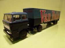 LION CAR 58 36 DAF 2800 TRUCK + TRAILER - VAN NELLE - TWO TONE BLUE 1:50 - GC