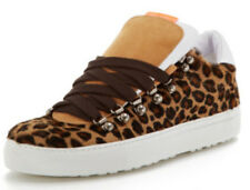 DSQUARED2 Tan Leather & Pony Hair Leopard Spot Sneakers - NEW IN BOX