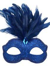 Royal Blue Glitter Face Eye Mask Feathers Fancy Dress Venetian Masquerade Ball