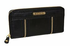 NEW MICHAEL KORS MOXLEY BLACK LEATHER+GOLD TONE CONTINENTAL ZIP CLUTCH WALLET