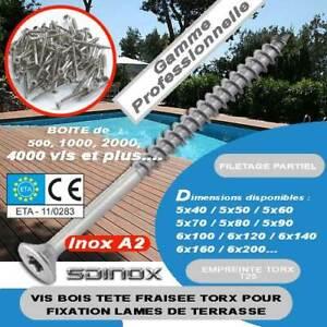 Vis terrasse bois inox Torx 5x50 ideal terrasse 1500pcs