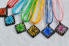 FREE Wholesale lots 6ps Square Flower In Lampwork Glass Pendants Silk Necklace