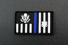 US Coast Guard Ensign Law Enforcement Flag Thin Blue Line Patch USCG LE Police