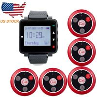 Restaurant Server Paging System LCD Watch Receiver 999CH+5 Pagers 433MHz US Ship