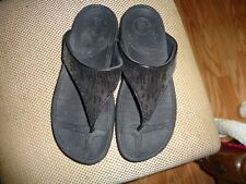 FitFlop Women's Black Sequin Thong Sandals Size 9M US, Euro 41, UK 7