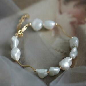 10-12MM Natural Shaped Baroque White Pearl Bracelet 18K gold chain Wedding