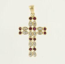 Ruby & Diamond Cross Pendant -10k Yellow Gold .66ctw Genuine Gemstones Religious
