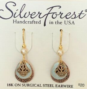 SILVER FOREST COPPERTONE 18K ON SURGICAL STEEL DROP DANGLE HOOK EARRINGS