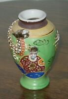 "Superb Japanese Moriage Hand Painted Dragon 4"" Bud Vase w/Images of Musicians"