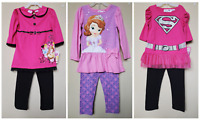 *NWT- DISNEY - TODDLER GIRL'S 2-PC LS LEGGING OUTFIT SET - LICENSED - 4T, 5T