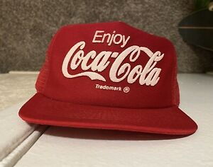 Vintage Coca Cola Classic Snapback Trucker Cap Hat Red Coke Soda