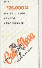 Cal Neva Hotel Casino Downtown Reno Vintage Cocktail Dinner Napkin Slots Food