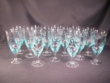 Aqua Floral Cut Iced Tea/Water Goblets Unknown Manufacturer Set of 14