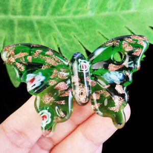 60x40x5mm Carved Green  Lampwork Glass Butterfly Pendant Bead R26270