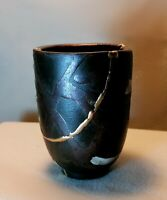 Kintsugi, Wabi -Sabi Collection, Wabi-Sabi Raku Pottery Cup with Kintsugi repair