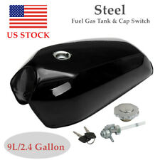 9L/2.4 Gallon Motorcycle Cafe Racer Vintage Fuel Gas Tank W/Cap Switch Black