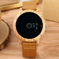 Unisex Wooden Watch Quartz Analog Display Wood Bamboo Leather Band Wristwatch