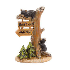 Welcome Sign with Black Bear Cubs - Resin - Miniature Fairy Garden Dollhouse