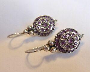 Vintage Victorian Style Sterling Silver & Ruby Earrings