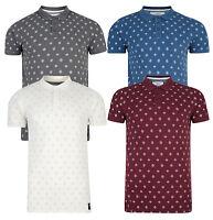 Crosshatch Cotton Polo Shirt Retro Top T-shirt Printed Grey Blue Burgundy DD12