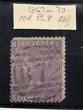 Great Britain Victoria 1867 - 71 6d stamp Plate 8