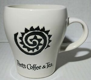Peet's Coffee & Tea Coffee Mug 12 FL OZ Black and White Etched Tribal Sun Design