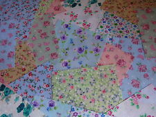 "50 X 4"" Fabric Remnant Bundle Patchwork Squares Floral Collection Craft"
