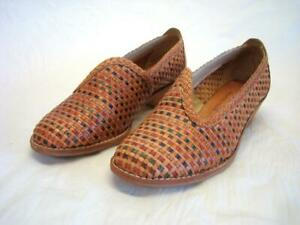 Vintage Qualicraft Leather Woven Slip On Shoes Size 7 B Wood Heel Ex Condition